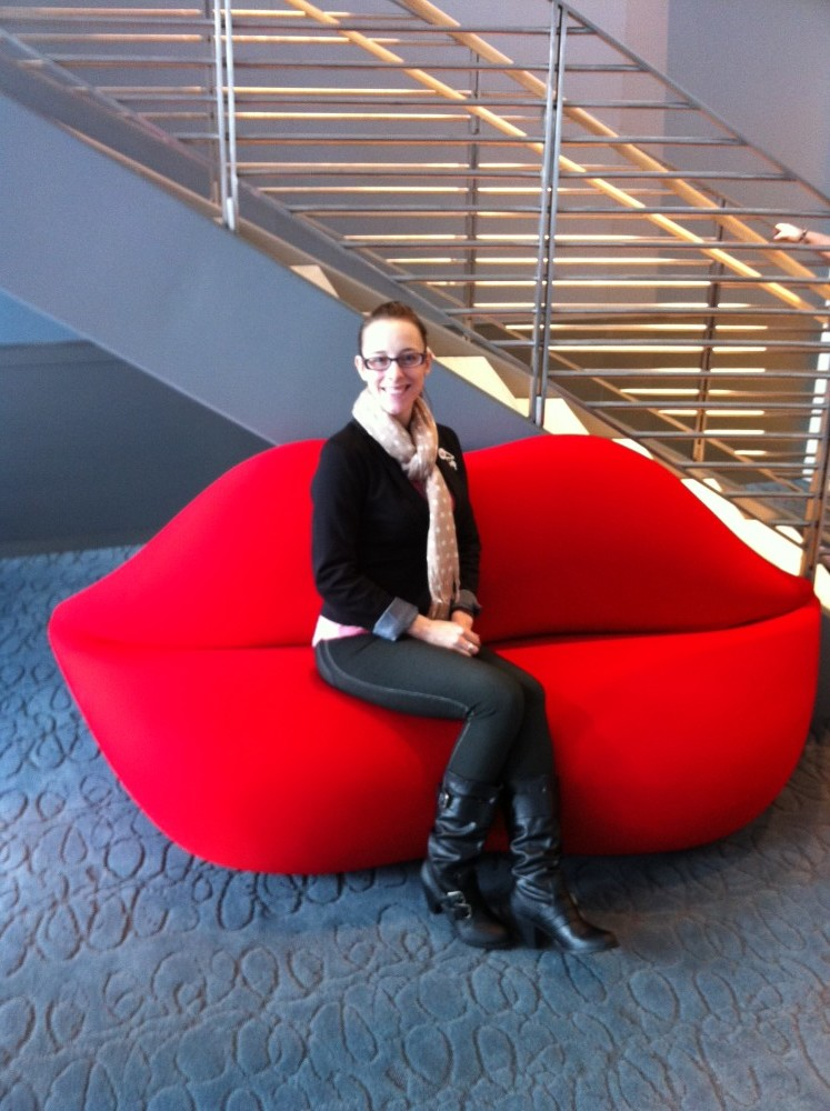 Mama on the famous Lips Couch at the Avon Headquarters.
